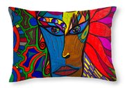 Magdalena On Fire - Mask - Abstract Face Throw Pillow