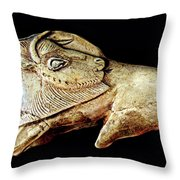 Magdalenian Carved Bison  Throw Pillow