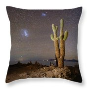 Magellanic Clouds And Forked Cactus Incahuasi Island Bolivia Throw Pillow