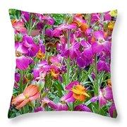 Magenta Floral Pattern Throw Pillow