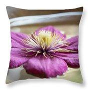 Peaceful Clematis Throw Pillow