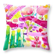 Magenta Garden In The Afternoon Throw Pillow