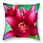 Magenta Lilies Throw Pillow