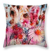 Magenta May Flowers Throw Pillow