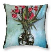 Magenta Oleander Throw Pillow