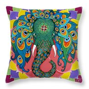 Magic Elephant Throw Pillow by Galina Bachmanova