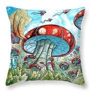 Magic Mushroom Forest Throw Pillow