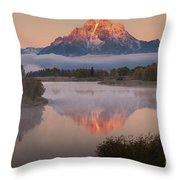 Magic Of Dawn At Oxbow  Bend Throw Pillow