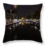 Magical Amsterdam Night - Blue Crown Skyline Throw Pillow
