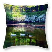 Magical Beauty At The Azalea Pond Throw Pillow