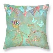 Magical Bicycle Tour Enchanted Happy Art Throw Pillow