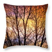 Magical Colorful Sunset Tree Silhouette Throw Pillow