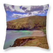 Magical Keem Beach Crowned By Clouds From Heaven Throw Pillow