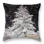 Magical Nighttime Snow Throw Pillow