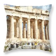 Magnificent Acropolis In Athens Throw Pillow