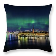 Magnificent Aurora Dancing Over Stockholm Throw Pillow
