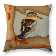 Magnificent Blue-winged Kookaburra Throw Pillow by Brian Leverton