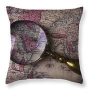 Magnifying  Glass On Old Map Throw Pillow