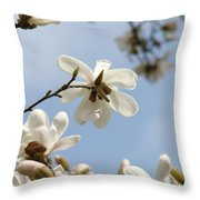 Magnolia Flowers White Magnolia Tree Art 2 Blue Sky Giclee Prints Baslee Troutman Throw Pillow