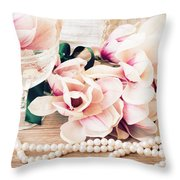 Magnolia Flowers With Pearls Throw Pillow
