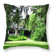 Magnolia Plantation Back Entrance Throw Pillow