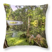 Magnolia Plantation Bridge Cypress Garden Throw Pillow