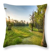 Magnolia Plantation Cypress Swamp Sunrise Throw Pillow