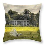 Magnolia Plantation House Throw Pillow