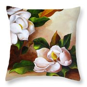 Magnolias In A Clay Pot Throw Pillow