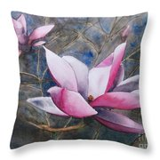 Magnolias In Shadow Throw Pillow