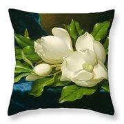 Magnolias On A Blue Velvet Cloth Throw Pillow