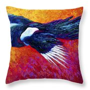 Magpie In Flight Throw Pillow