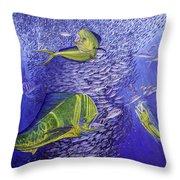 Mahi Mahi Original Oil Painting 24x30in Throw Pillow by Manuel Lopez