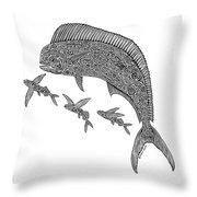 Mahi With Flying Fish Throw Pillow