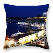 Mahon Harbour At Night Throw Pillow