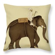 Mahout Riding An Elephant Painting - 18th Century Throw Pillow