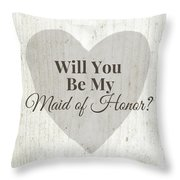 Maid Of Honor Rustic- Art By Linda Woods Throw Pillow
