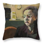 Maiden In Cafe Throw Pillow