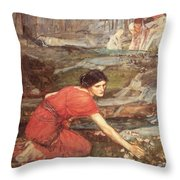 Maidens Picking Flowers By The Stream Throw Pillow