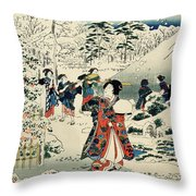 Maids In A Snow Covered Garden Throw Pillow