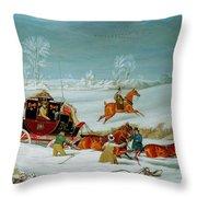 Mail Coach In The Snow Throw Pillow by John Pollard