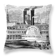 Mail Steamboat, 1854. /nthe Louisville Mail Company Steamboat Jacob Strader. Wood Engraving, 1854 Throw Pillow