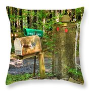 Mailbox On The Rural Country Road Throw Pillow