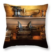 Mailman - At The Post Office Throw Pillow by Mike Savad