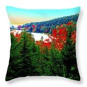 Maine Long Pond Acadia  Throw Pillow