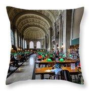 Main Reading Room Of Boston Public Library Throw Pillow
