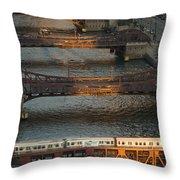 Main Stem Chicago River Throw Pillow by Steve Gadomski