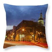 Main Street In Annapolis Throw Pillow
