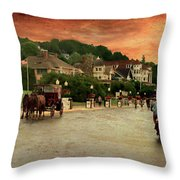 Main Street Mackinac Island Michigan Panorama Textured Throw Pillow