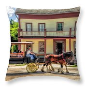Main Street Of A Bygone Era At Old World Wisconsin Throw Pillow